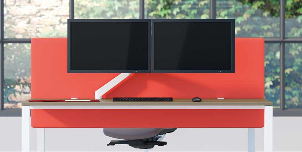 Bras support écran Plug & play vu de face avec 2 écrans